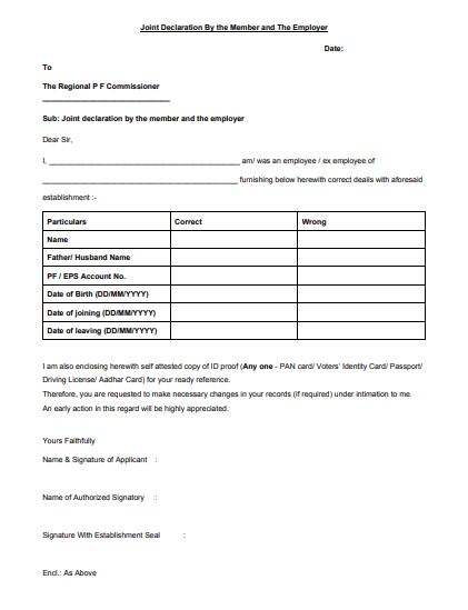 joint declaration form