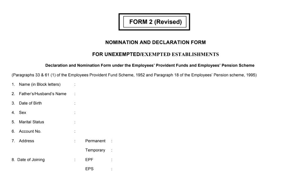 pf nomination form